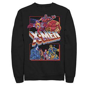 Men's X-Mens Arcade Characters Group Shot Panels Fleece Graphic Top