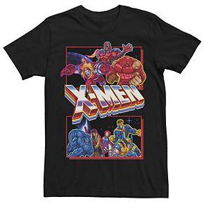 Men's X-Mens Arcade Characters Group Shot Panels Graphic Tee