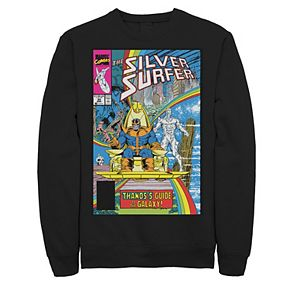 Men's Marvel Thanos Guide To The Galaxy Silver Surfer Comic Cover Fleece Graphic Top