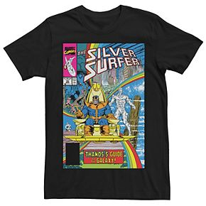 Men's Marvel Thanos Guide To The Galaxy Silver Surfer Comic Cover Graphic Tee