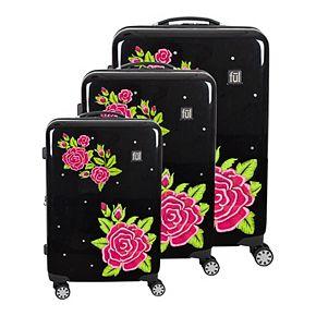 FUL Printed 3-Piece Hardside Spinner Luggage Set