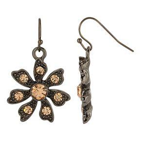 1928 Jet Flower Drop Earrings