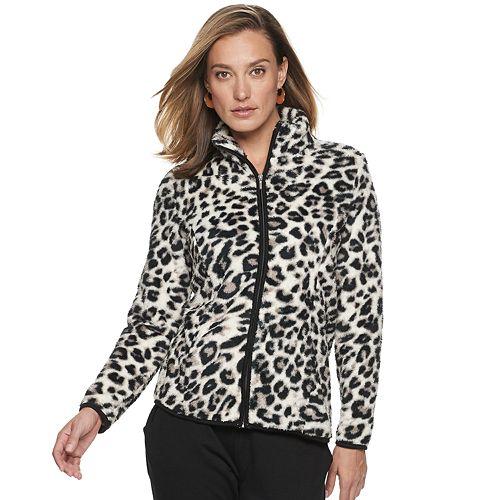 Women's Cathy Daniels Animal Print Zip-Front Fleece Jacket