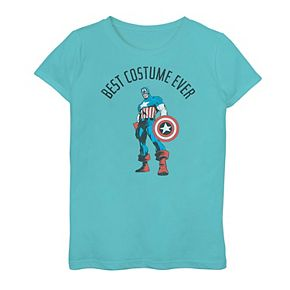 "Girls 7-16 Girls Marvel Captain America ""Best Costume Ever"" Graphic Tee"