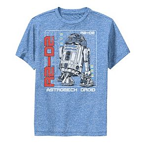 Boys 8-20 Star Wars R2-D2 Astromech Droid Blue Prints Graphic Performance Tee