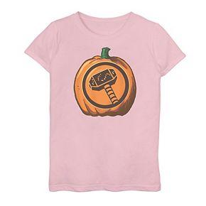 Girls 7-16 Marvel Thor Hammer Logo Pumpkin Tee