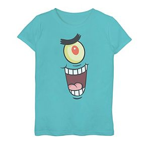 Girls 7-16 SpongeBob SquarePants Plankton Face Graphic Tee