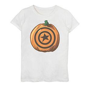 Girls 7-16 Marvel Captain America Pumpkin Logo Graphic Tee