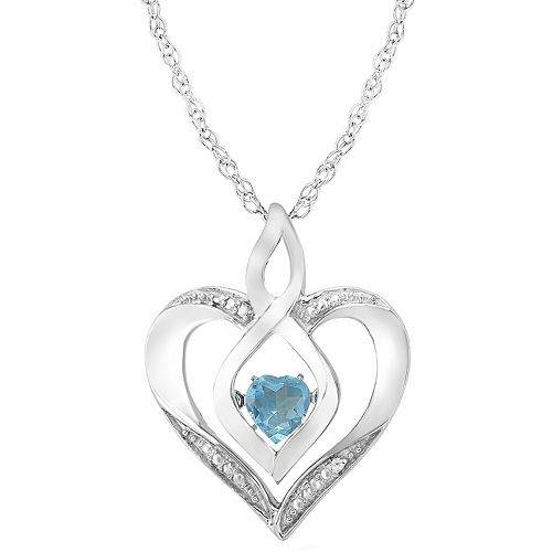 Sterling Silver Gemstone & Diamond Accent Heart Pendant Necklace