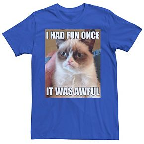Men's Grumpy Cat Had Fun Once Photo Tee
