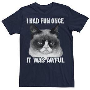 Men's Grumpy Cat Had Fun Once Portrait Tee