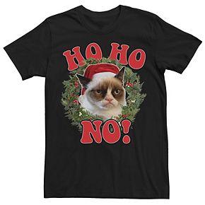 Men's Grumpy Cat Ho Ho No Christmas Wreath Holiday Tee