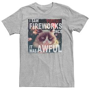 Men's Grumpy Cat Saw Fireworks Once Awful Tee