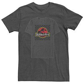 Men's Jurassic Park Distressed Kanji Checkered Logo Tee