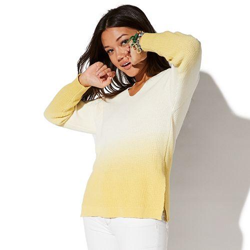 Juniors' Vylette™ Dip-Dye V-Neck Sweater