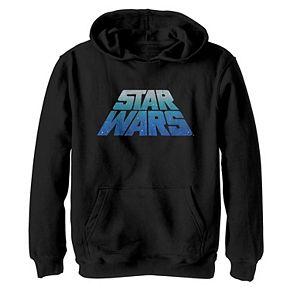 Boys 8-20 Star Wars Logo Classic Slant Retro Blue Wave Graphic Hoodie