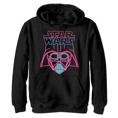 Boys 8-20 Star Wars Darth Vader Neon Light Helmet Logo Graphic Hoodie