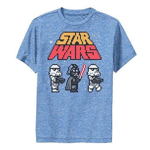 Boys 8-20 Star Wars Vader Troopers Logo 8-Bit Pixels Graphic Performance Tee