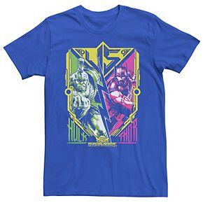 Men's Marvel Thor Ragnarok Hulk VS Thor Abstract Poster Tee