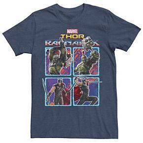 Men's Marvel Thor Ragnarok Hulk Thor Action Pose Grid Tee