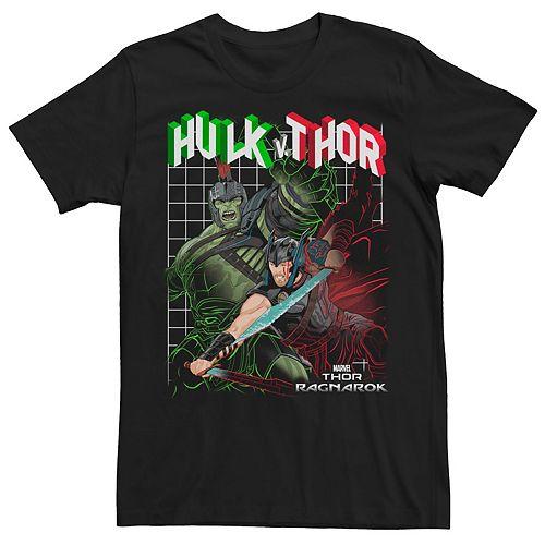 Men's Marvel Thor Ragnarok Hulk VS Thor Grid Drawn Tee