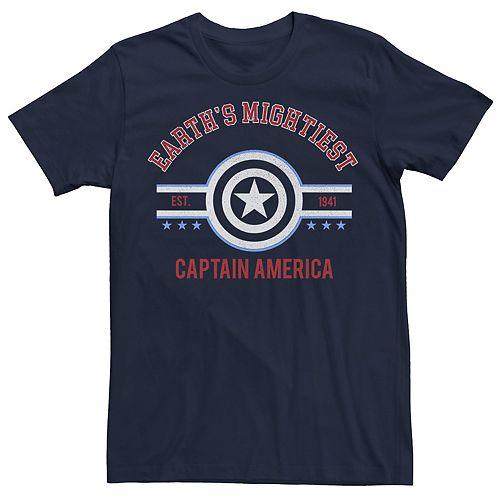 Men's Marvel Captain America Earth's Mightiest Retro Logo Tee
