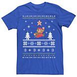 Men's Nintendo Super Mario Christmas Star Pixels Tee