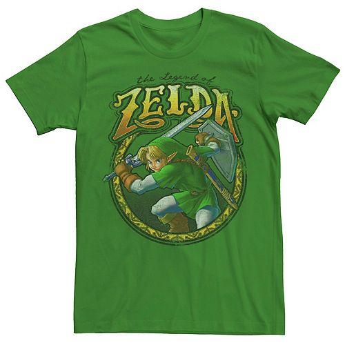 Men's Nintendo Zelda Link Sword Ready Vintage Rock Badge Tee