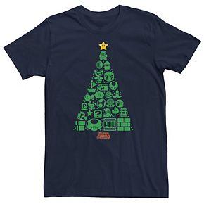 Men's Nintendo Super Mario Item Characters Christmas Tree Graphic Tee