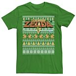 Men's Nintendo Legend Of Zelda 8-Bit Ugly Holiday Sweater Graphic Tee