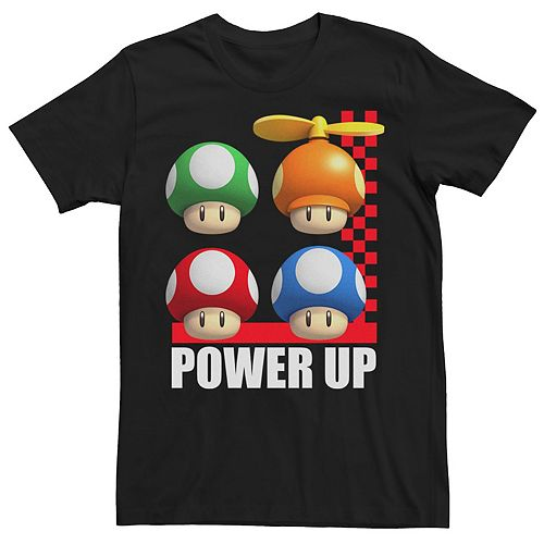 Men's Nintendo Super Mario Power Up Mushrooms Grid Logo Graphic Tee