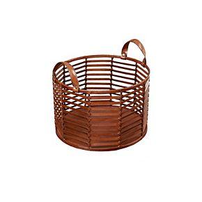 Madison Park Signature Newport Small Leather Stripe Basket