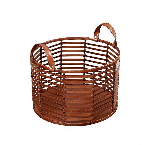 Madison Park Signature Newport Large Leather Stripe Basket