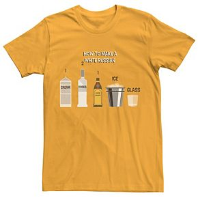 Men's Big Lebowski White Russian Instructions Tee