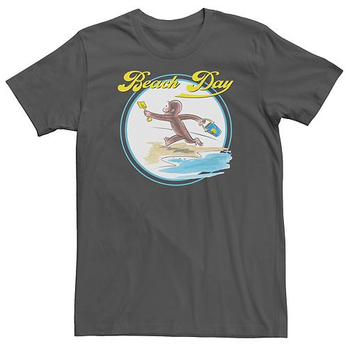 Men's Curious George Beach Day Watercolor Tee