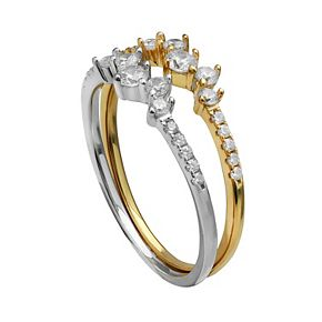 PRIMROSE 18k Gold over Silver Two-Tone Cubic Zirconia Cluster Ring Set