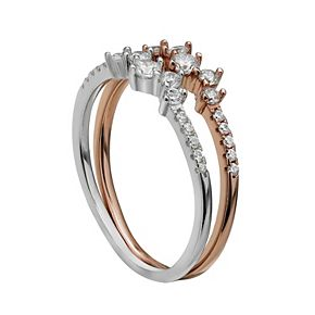 PRIMROSE 18k Rose Gold over Silver Two-Tone Cubic Zirconia Cluster Ring Set