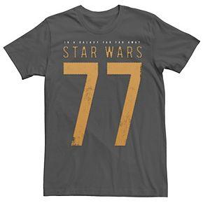 Men's Star Wars Collegiate 77 On A Jersey Far Far Away Graphic Tee