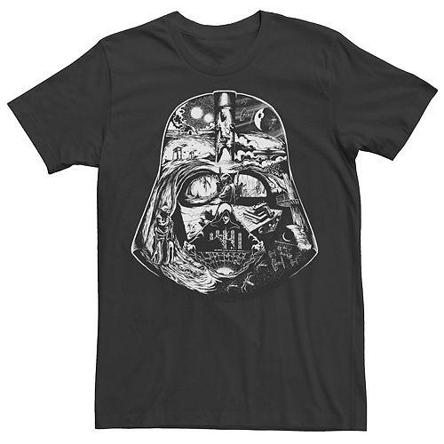 Men's Star Wars Darth Vader Helmet Saga Black And White Graphic Tee