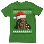 Men's Star Wars Chewie Santa Hat Ugly Christmas Sweater Graphic Tee