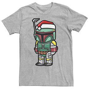 Men's Star Wars Boba Fett Santa Hat Cartoon Style Christmas Graphic Tee