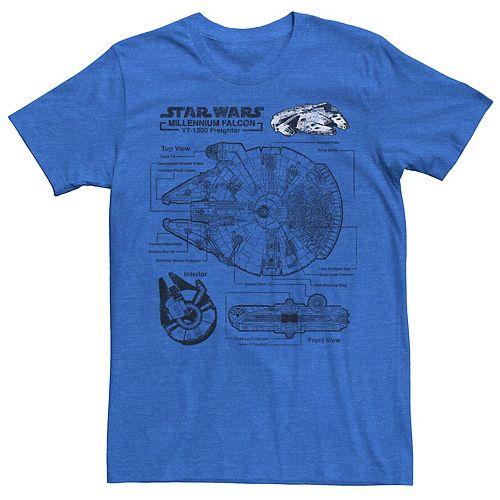 Men's Star Wars Millennium Falcon Schematic Graphic Tee