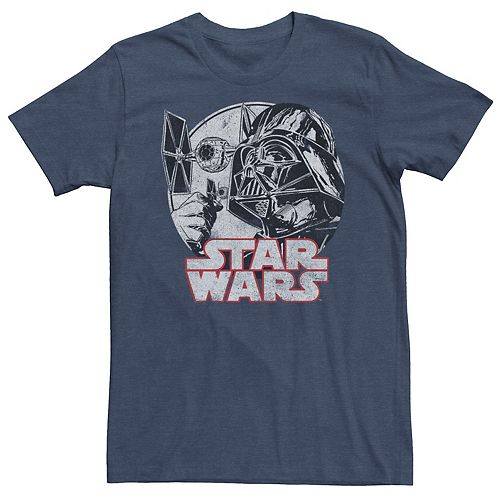 Men's Star Wars Darth Vader Ships Vintage Title Graphic Tee