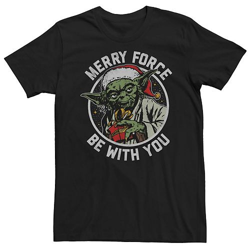 Men's Star Wars Yoda Merry Force Be With You Christmas Graphic Tee