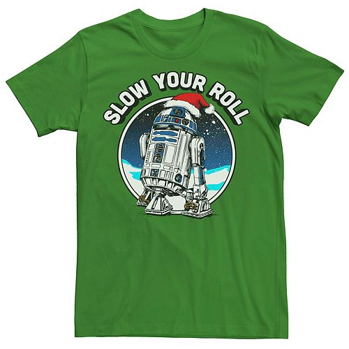 Men's Star Wars R2-D2 Santa Hat Slow Your Roll Christmas Graphic Tee