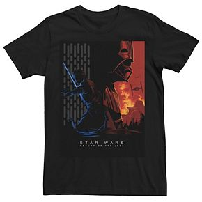 Men's Star Wars Return Of The Jedi Luke Vader Abstract Poster Graphic Tee