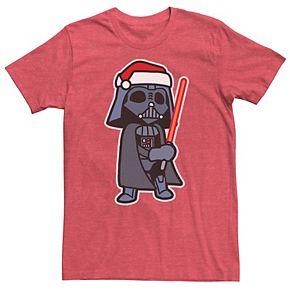 Men's Star Wars Darth Vader Saber Santa Hat Christmas Graphic Tee