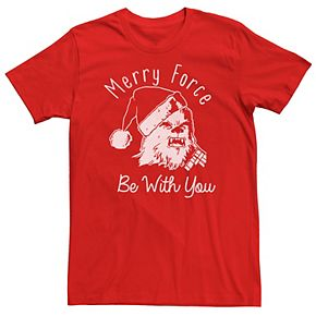 Men's Star Wars Chewie Merry Force Be With You Christmas Graphic Tee