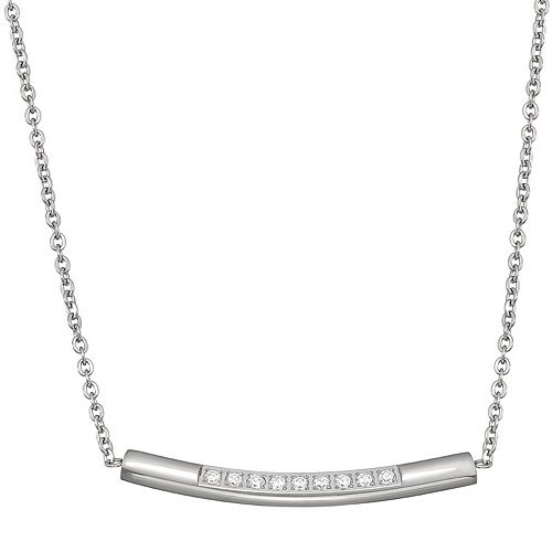 Stella Di Femmex Stainless Steel Crystal Curved Bar Necklace