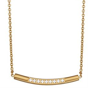 Stella Di Femmex 14k Gold over Stainless Steel Crystal Curved Bar Necklace